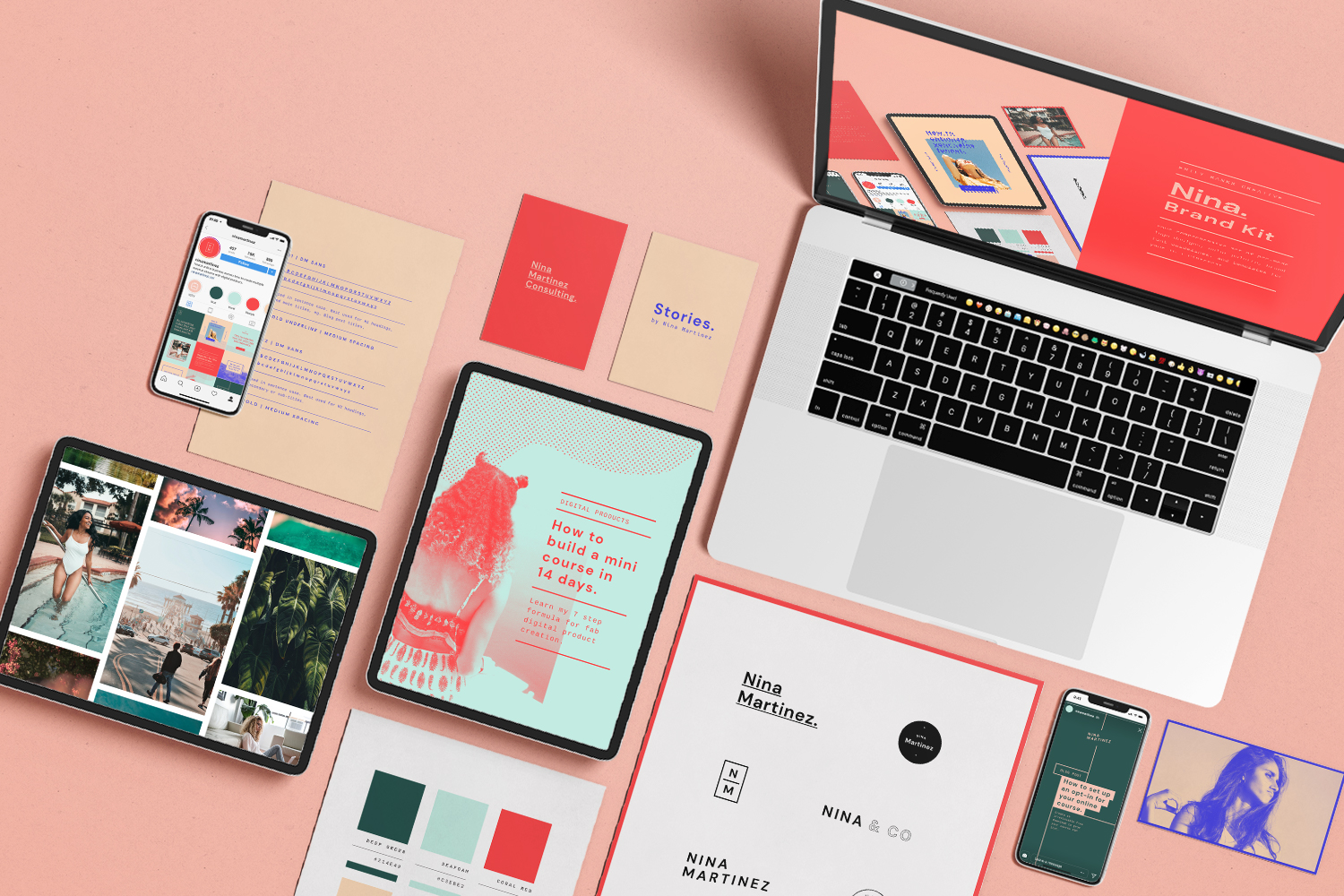The Nina Kit - Love bright colors and chill vibes? You'll love Nina. She's bold, contemporary, and will help you build an online presence that stands out from the crowd.