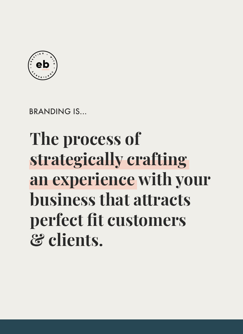 Branding is the process of strategically crafting an experience with your business that attracts perfect fit customers & clients. - Emily Banks Creative