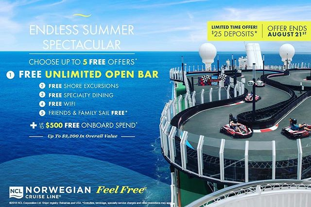 """Norwegian is at it again! $25 deposits AND """"Free At Sea""""?! Summer may be ending but the deals are endless! Reach out today for your chance to Cruise Like a Norwegian! @norwegiancruiseline #ZettingTravel #Zetting #Cruise #Ship #Cruising #CruiseLife #Travel #Vacation #Summer"""
