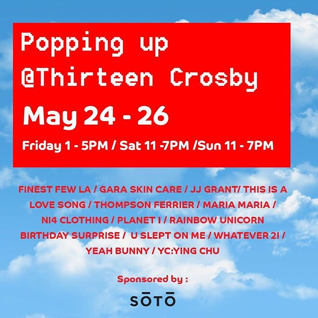 We'll be live all weekend @13crosby_soho! 💃🏻💃🏻 Come out, say hi 👋🏽, and support some amazing local designers!✨ . . . #shoplocal #popupshop #streetwear #13crosby #soho #nycdesigner #shop #summerinthecity #nycsummer