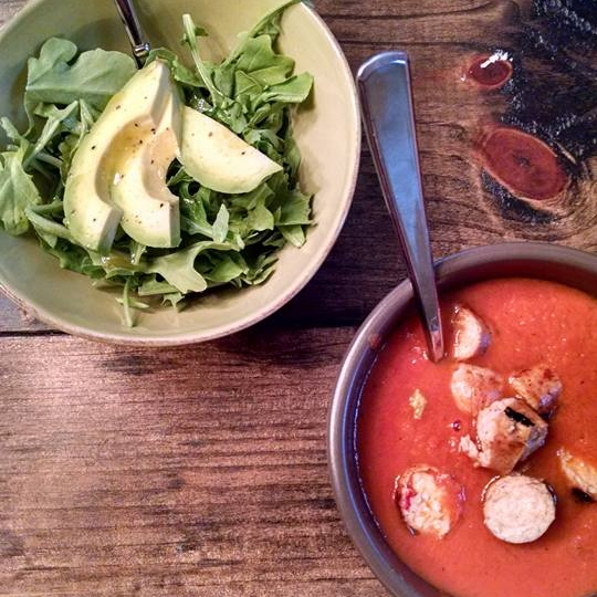 Dinner Inspiration:  Tomato Basic Soup with Turkey Sausage and Leafy Green Salad