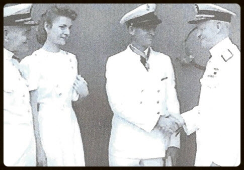 Admiral Halsey, Alice Finn, Chief John Finn, Admiral Nimitz  -  Chief Finn receives the Medal of Honor at a ceremony aboard the USS Enterprise (CV-6), 1942