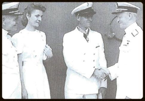 Admiral Halsey, Alice Finn, Chief John Finn, Admiral Nimitz - Chief Finn receives the Medal of Honor at a ceremony aboard the USS Enterprise (CV-6), 1942