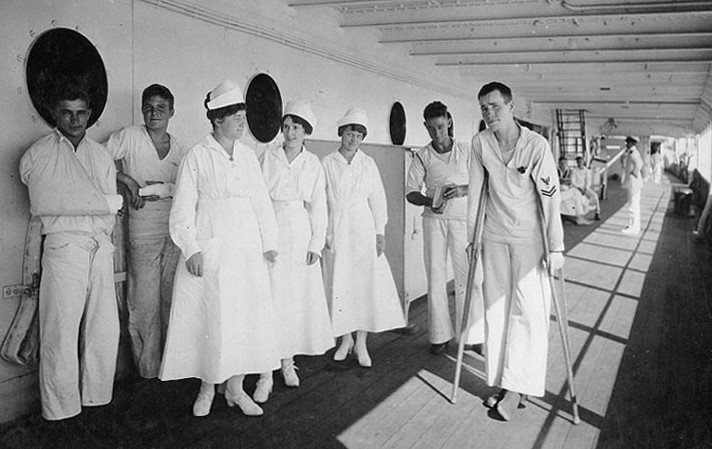 Nurses and patients aboard USS  Relief