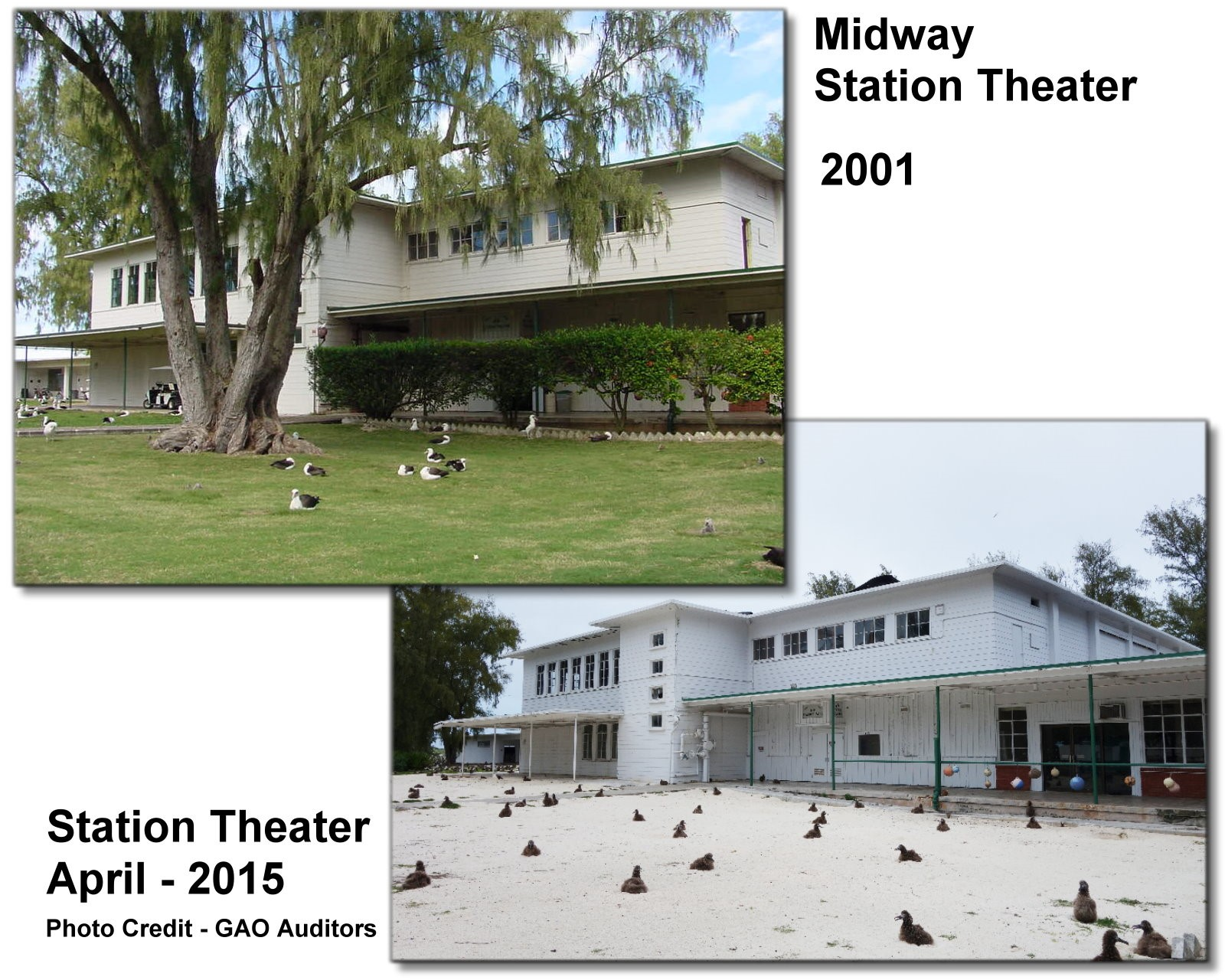 The theater was designed by the architect Albert Kahn and constructed before the Battle of Midway during World War II. It is  eligible for inclusion in the National Register of Historic Places. U.S. Fish & Wildlife Service officials said that the theater is not in use. Six murals were removed from the theater and sent to the Pacific Aviation Museum for preservation and display.
