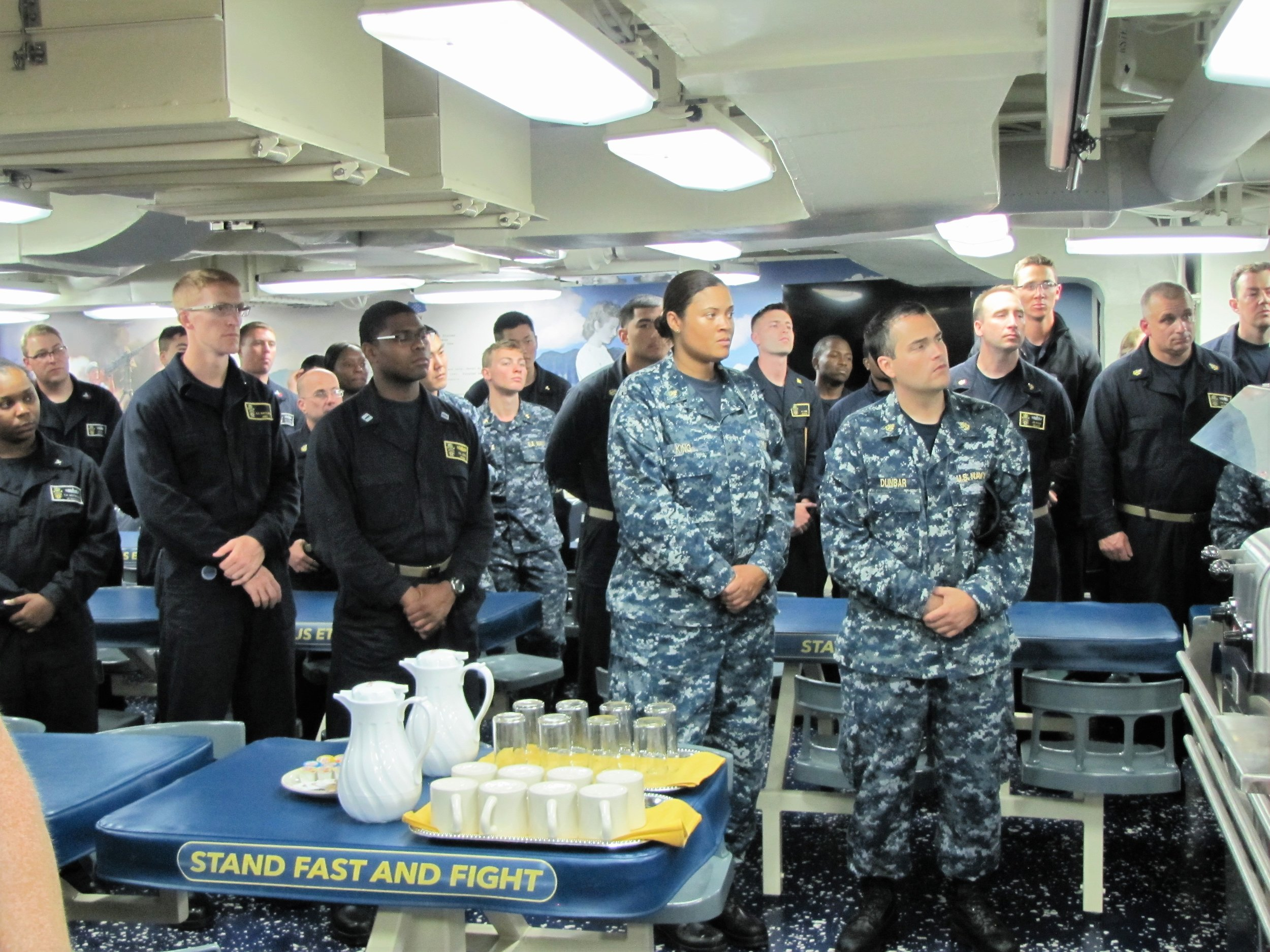 Officers and Crew of the USS John Finn assembled for the unveiling ceremony