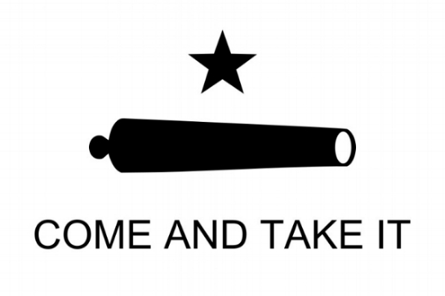 """The Gonzales or """"Come and Take It"""" flag was designed and painted by Cynthia Burns and Evaline DeWitt and was allegedly used at the battle of Gonzales in October 1835. The flag may have been carried by  Stephen F. Austin 's volunteer army to the  siege of Bexar . From """"The Handbook of Texas"""", Texas State Historical Association,  https://www.tshaonline.org/home/"""