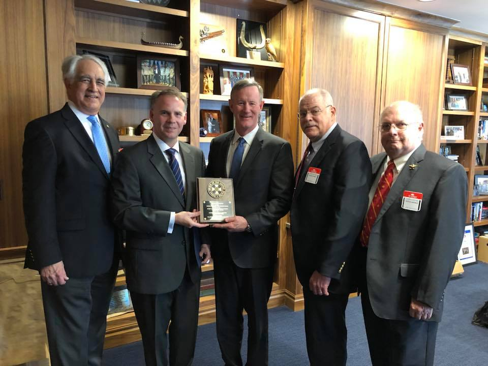 On March 26, 2018, Representatives of the Texas Commandery present the Nimitz Award to Admiral William McRaven in Austin, Texas. From left to right: LT Steven Howell, USN (ret), Treasurer; CDR Bryan Lethcoe, USN (ret), Commander; Admiral William McRaven, USN (ret), Chancellor, The University of Texas System; CAPT Chuck Hewell, USN (ret), Immediate Past Commander; RADM Peter Andrus, MC, USN (ret), Vice Commander and Surgeon. Photo by Mr. Chuck Berry, former LT, USN.