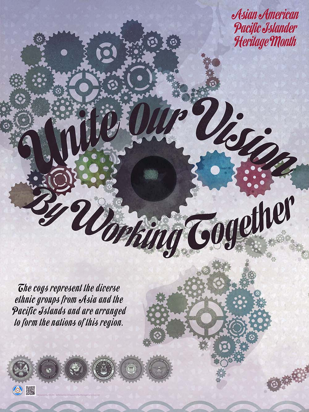 "A graphic in support of 2018 Asian American and Pacific Islander Heritage Month. This year, Navy commands are encouraged to celebrate and reflect on the theme ""Unite Our Vision by Working Together,"" which emphasizes the importance of embracing diversity and promoting unity. (U.S. Navy graphic/Released)"