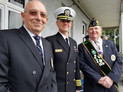 Captain John Rodgaard (USN, Ret), representing the Naval Order of the U.S., Rear Admiral (Sel) David Dwyer representing Admiral Michelle Howard and USNAVEUR, and Lt. Commander Ralph Day (USN, Ret) representing the Ancient Order of Hibernians at the ceremony to unveil the historic marker that now marks the centennial of the arrival of the U.S. Fleet under Admiral Taussig in Queenstown (now Cobh), Ireland.