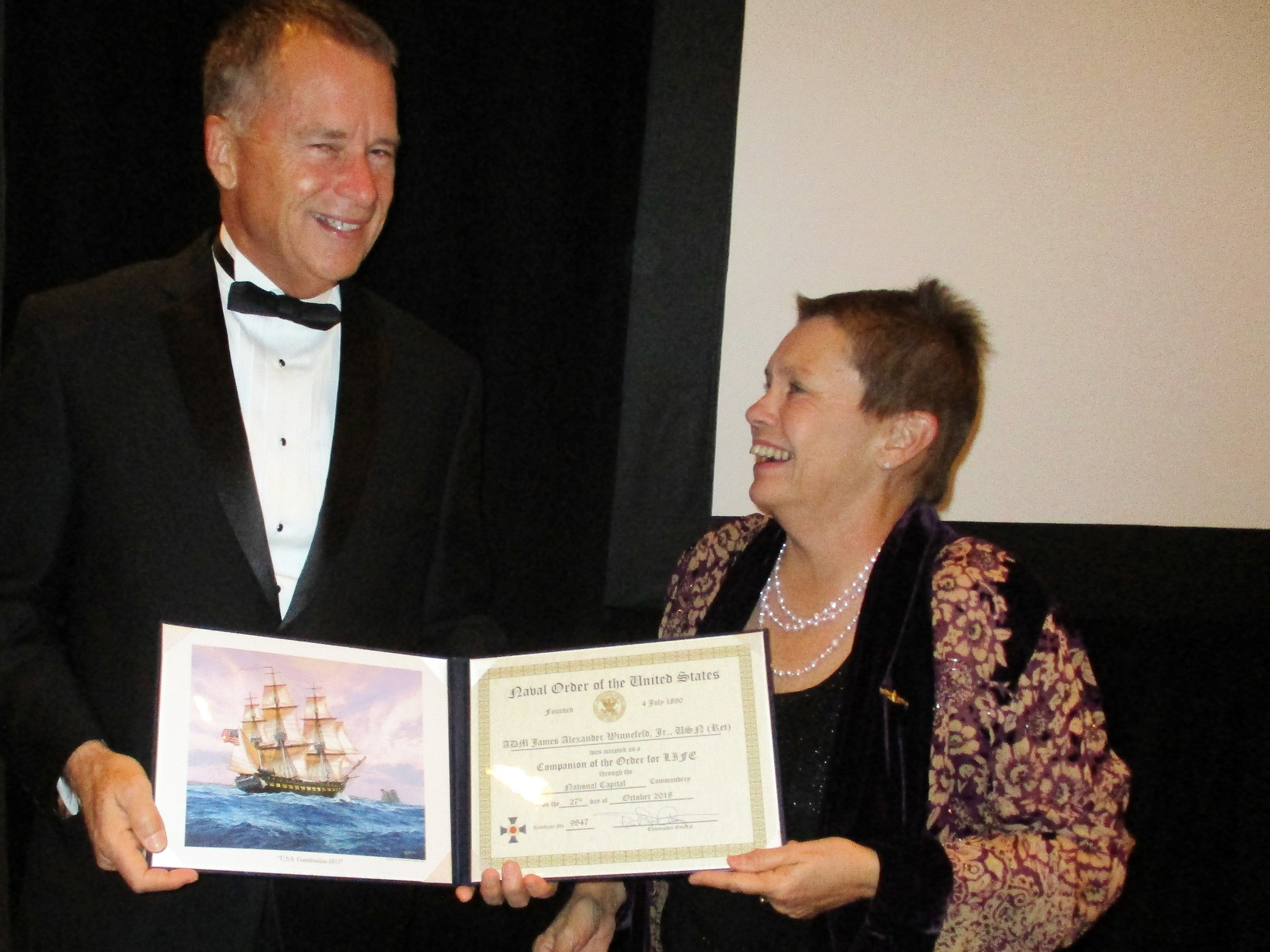 Recipient of the Distinguished Sea Service Award, ADM James A. Winnefeld, Jr., USN (Ret.), was also presented Life Membership in the Naval Order of the United States by CAPT Kris Carlock, USN (Ret.)