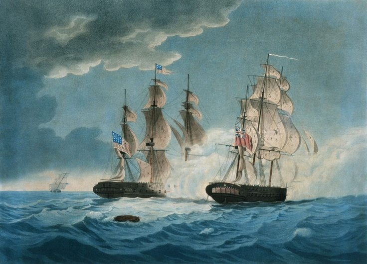 A Thomas Butterworth painting depicting the HMS Endymion and USS President at around 7:00 pm on the night of January 15th, 1815 when the ships turn to the South and brailed up their spankers in order to exchange broadsides.