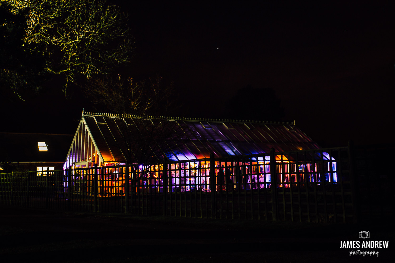 night time cheshire wedding venue shot disco lights
