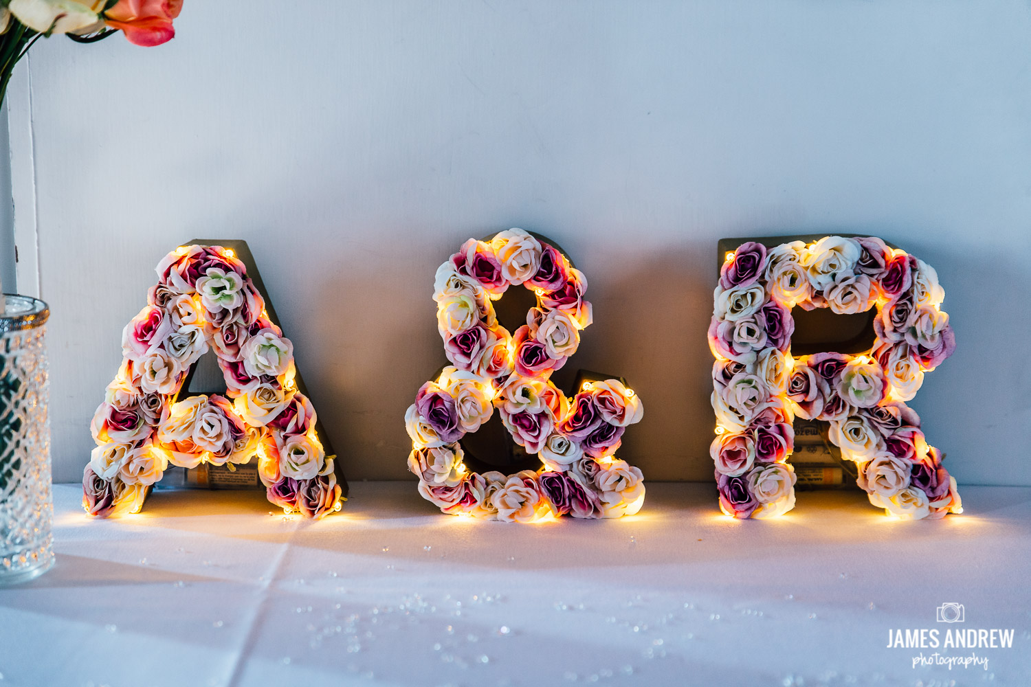 bridal initials in flowers pastel colours