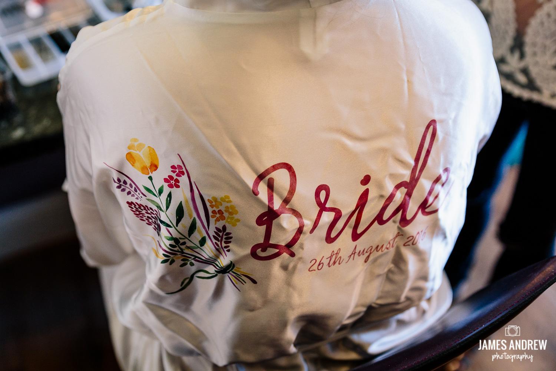 Brides wedding robe