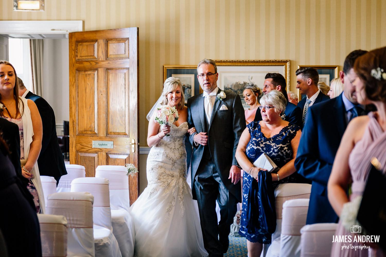 bride and dad walk down the isle Cheshire