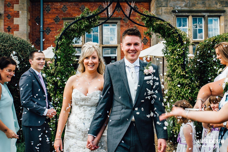 Confetti shot bride and groom