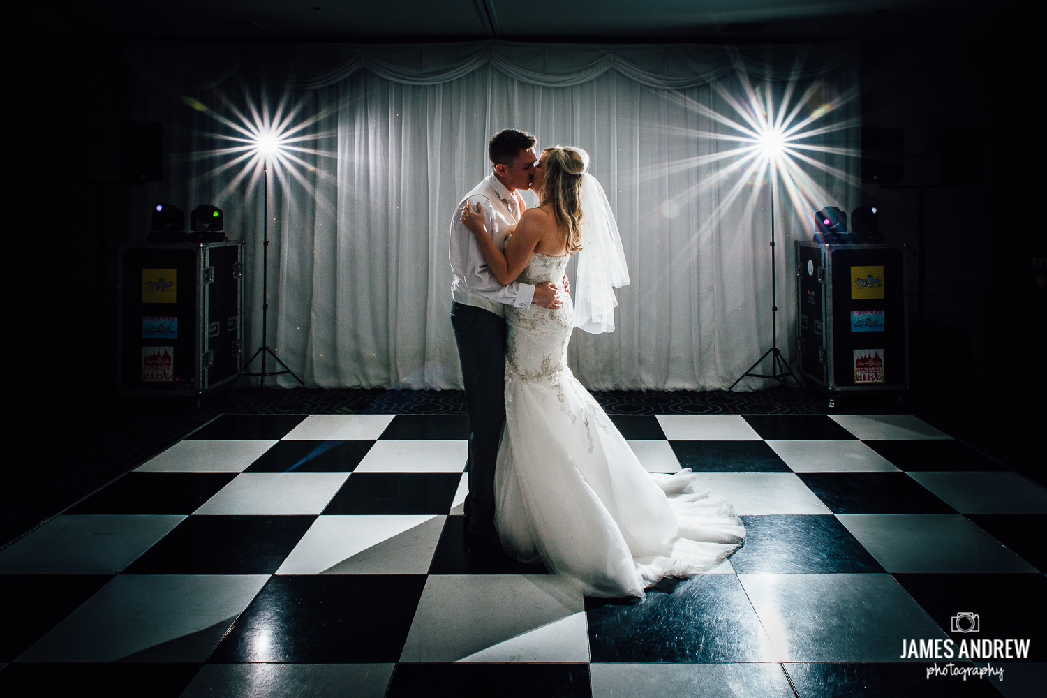 Bride and groom first dance wedding photo