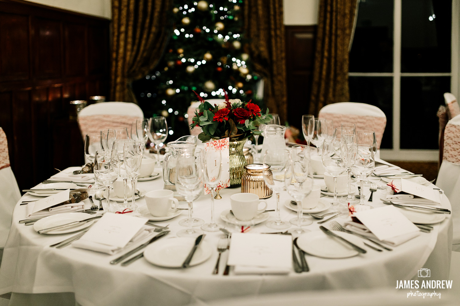Winter wedding table setting Rookery Hall