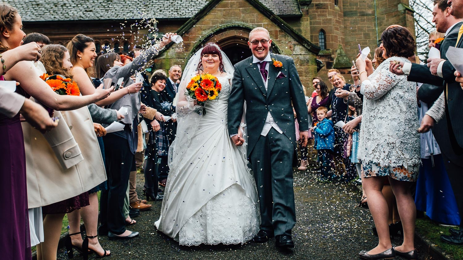 Bride and groom leaving church Abbeywood estate cheshire Northwest