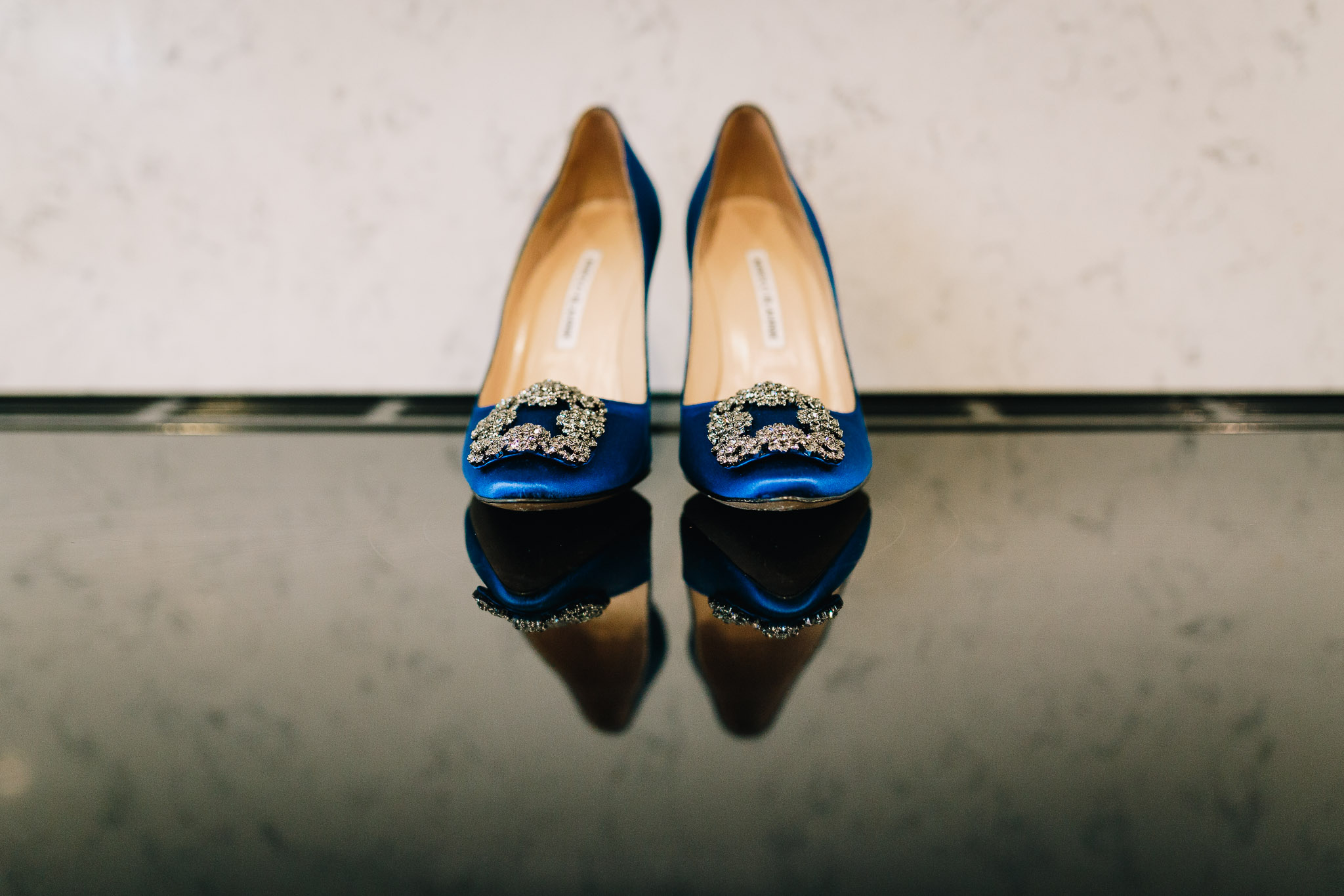 MANOLO BLAHNIK BLUE WEDDING SHOES REFLECTION