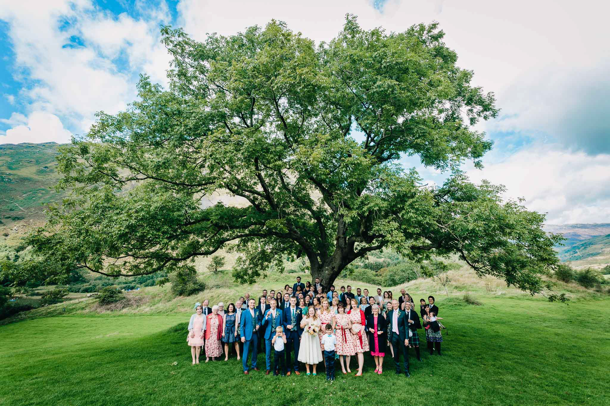 FAMILY WEDDING PHOTOGRAPH OUTDOORS GROUP SHOT STAFFORDSHIRE