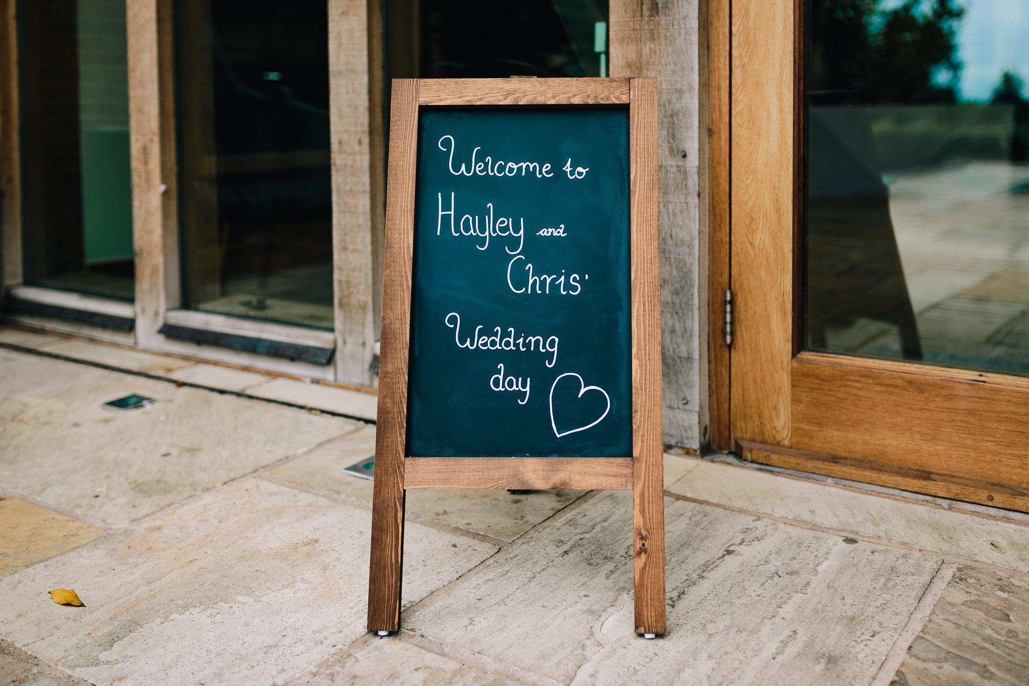 WEDDING DAY SIGN CHALK BOARD DIY