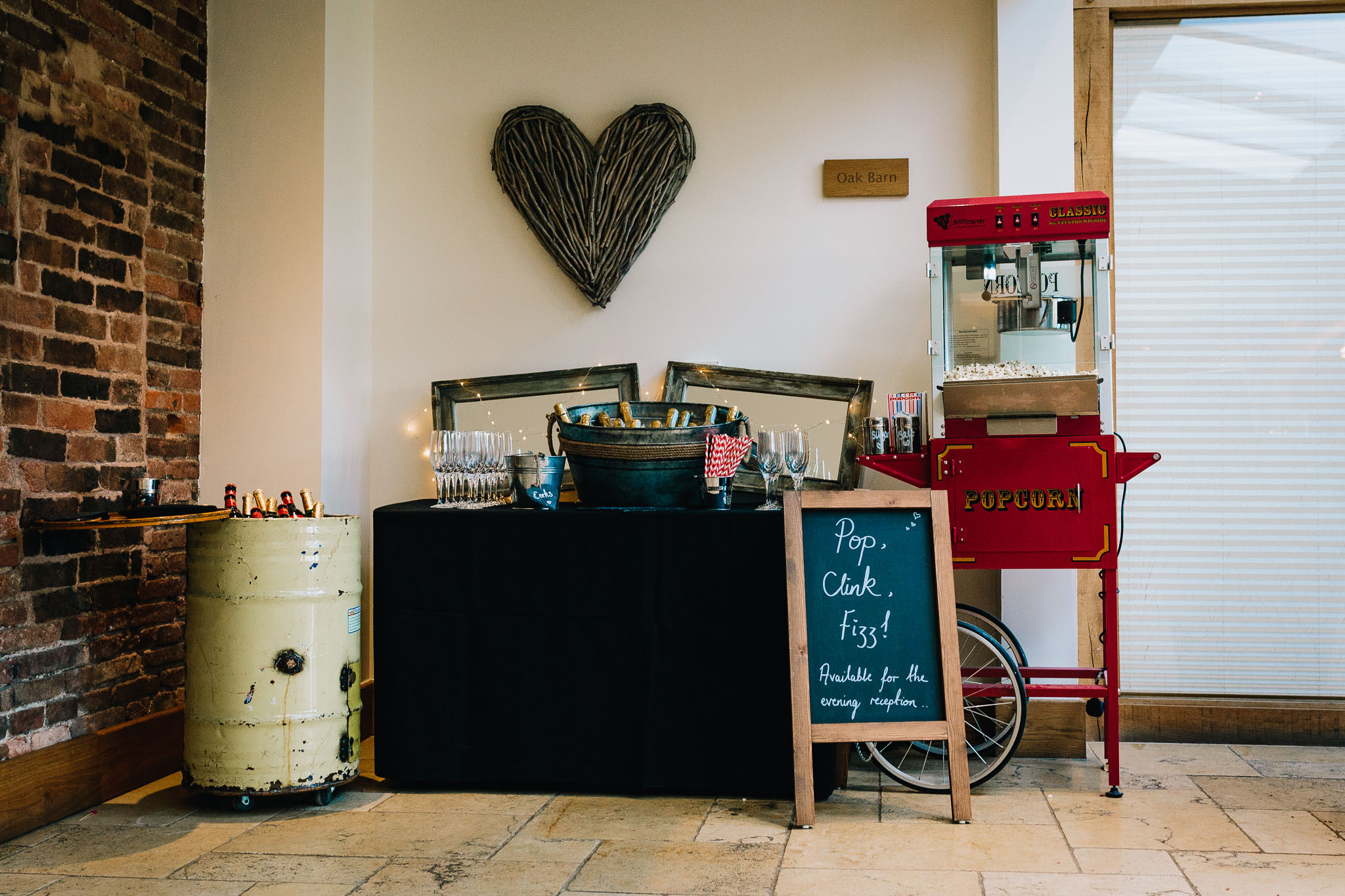 WEDDING POPCORN STAND AND PROSECCO DRUM