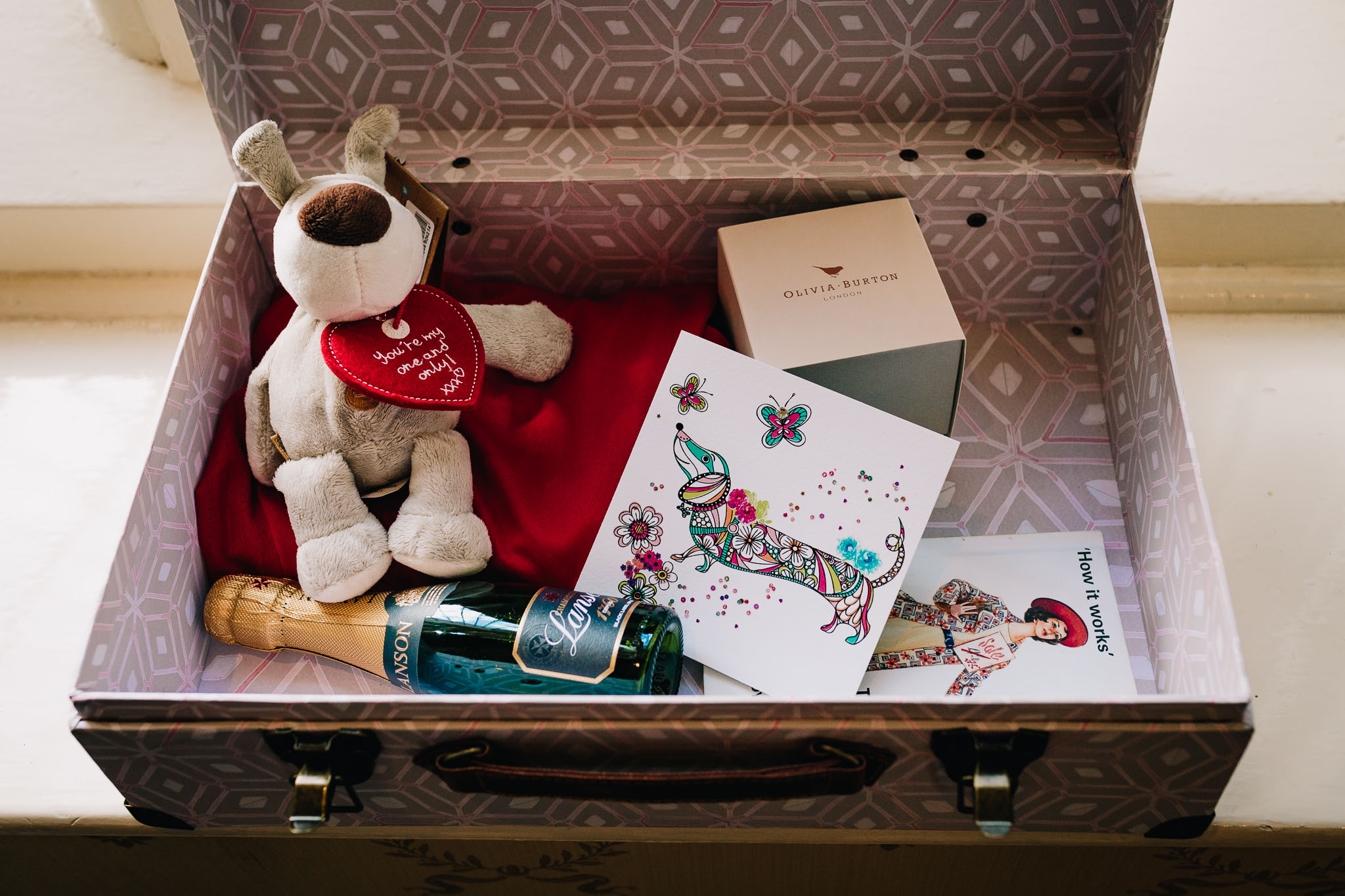 RUSTIC SUITCASE OF WEDDING GIFTS FROM BRIDE