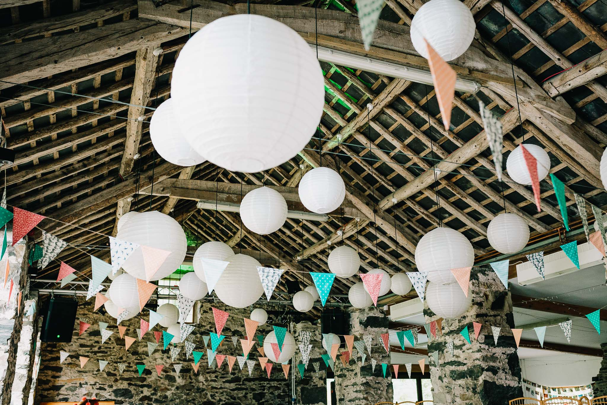 LANTERNS AND BUNTING HANGING UP IN NORTH WALES BARN