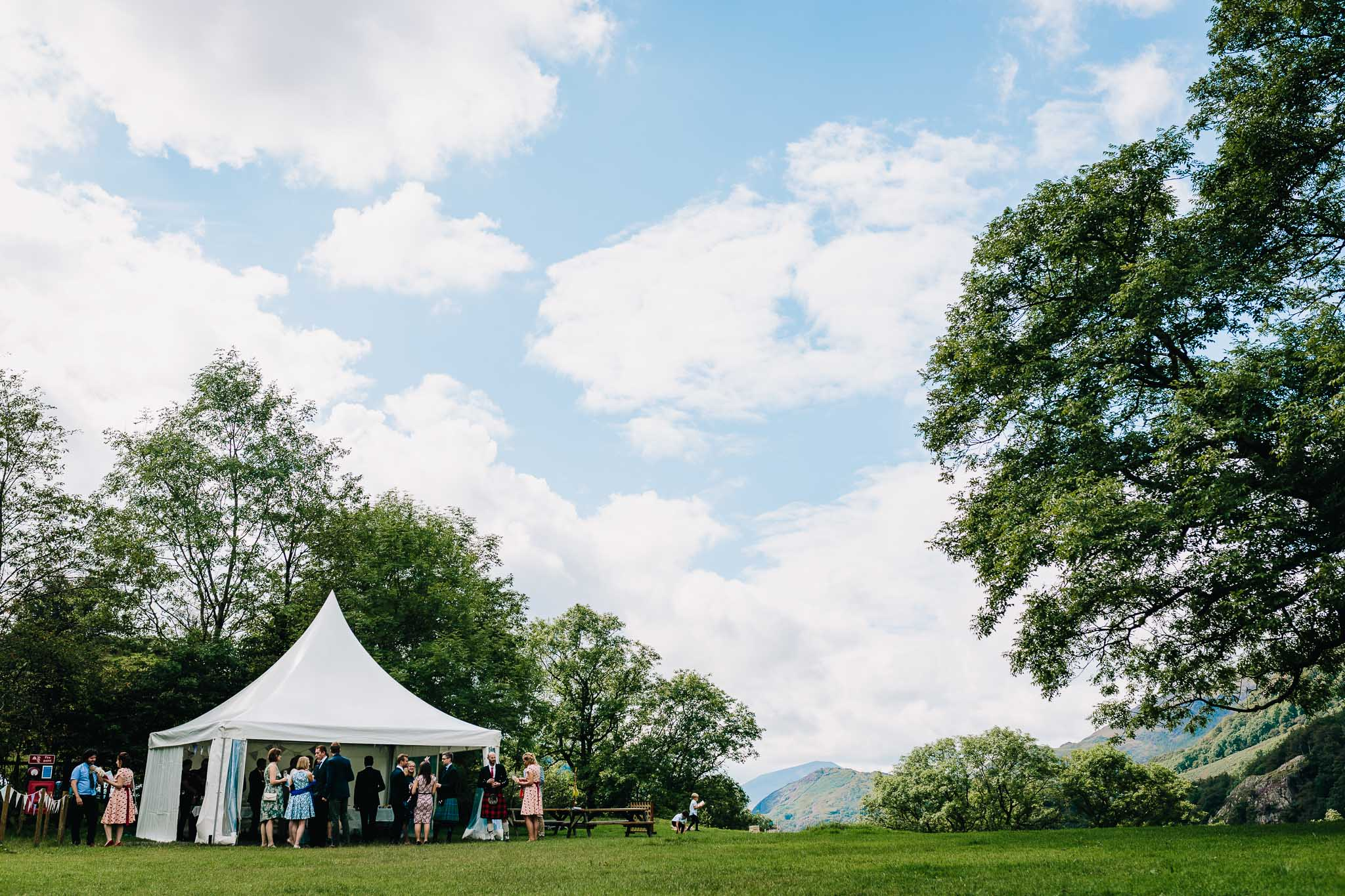 WEDDING PARTY TENT AT OUTDOOR LLYN GWYNANT WEDDING