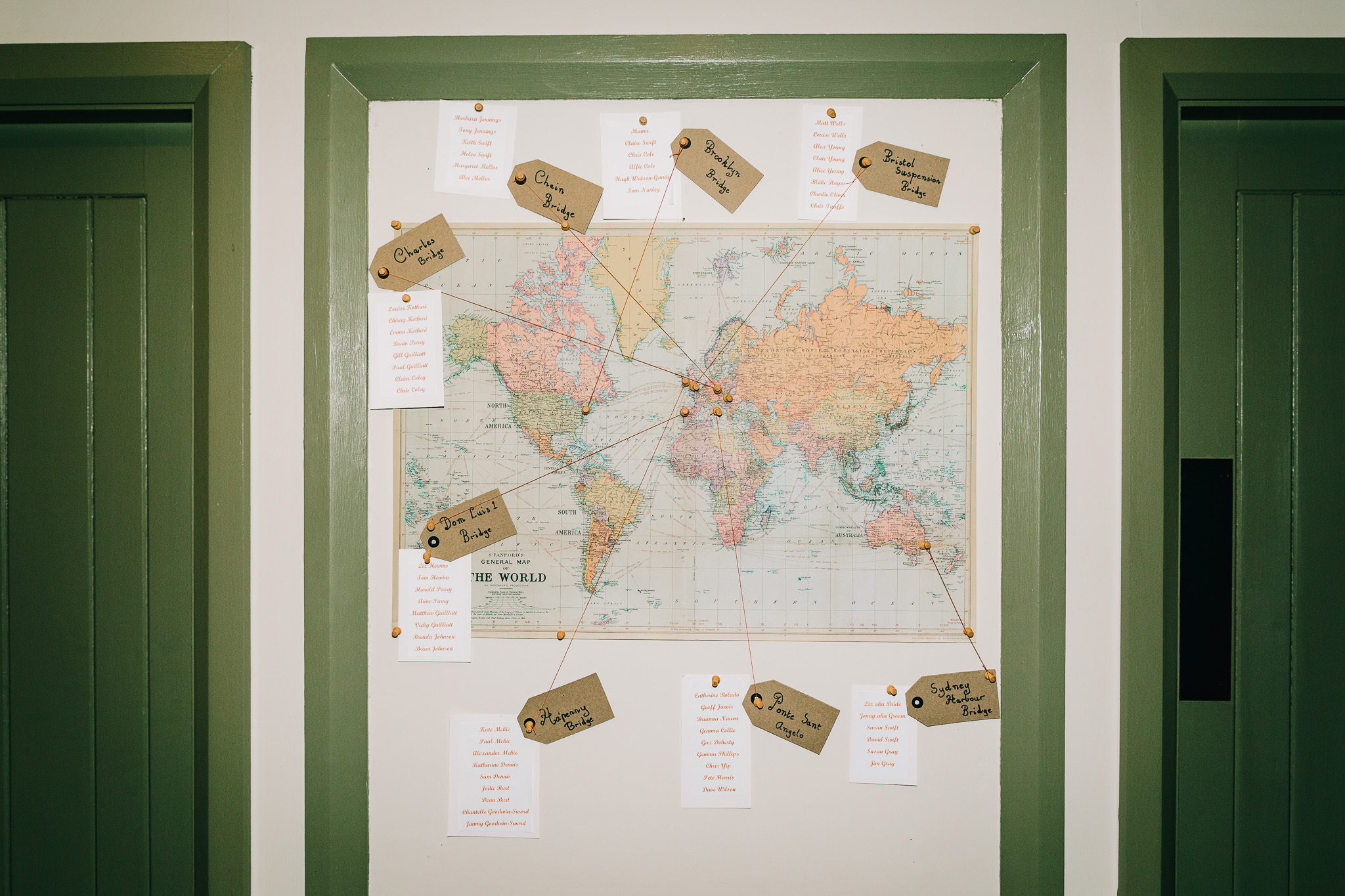 WORLD MAP WEDDING GUEST SEATING PLAN
