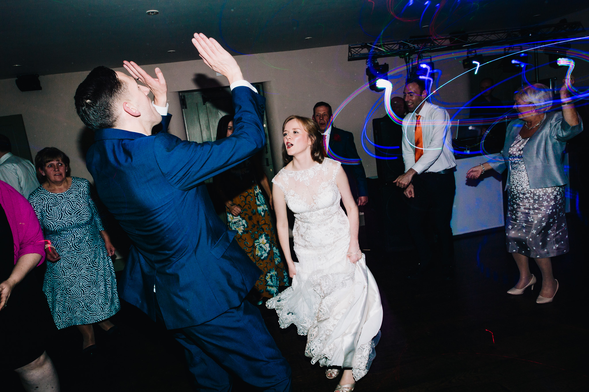 GROOM DANCING WITH BRIDE AT WEDDING VENUE IN STAFFORDSHIRE