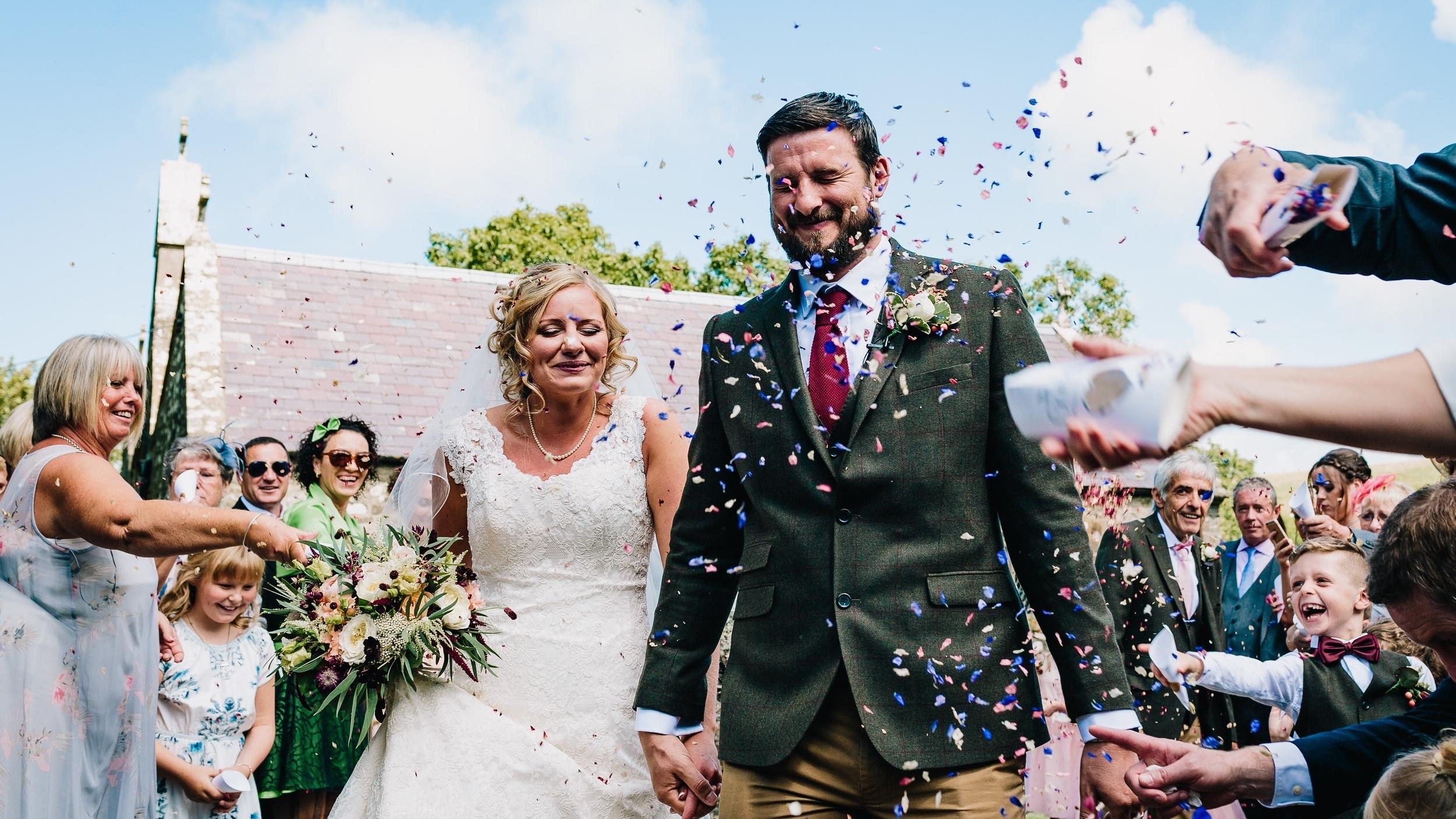 bride and groom confetti wedding picture
