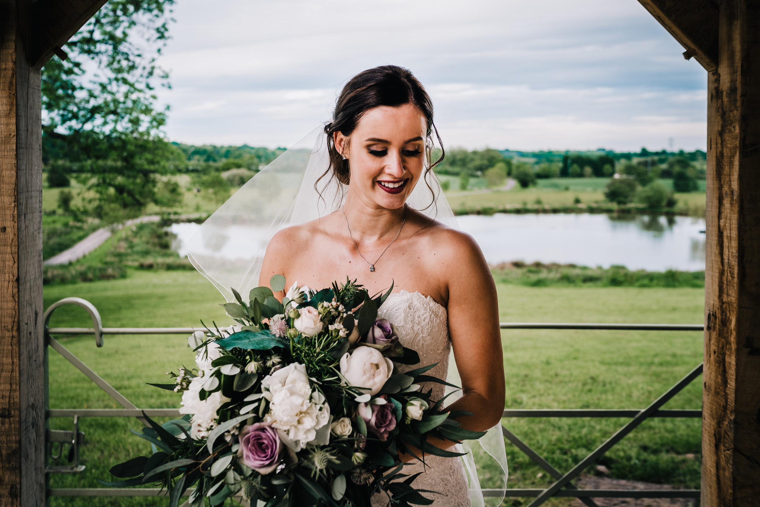 STUNNING BRIDE AT THE ASHES BARNS OUTDOOR WEDDING VENUE