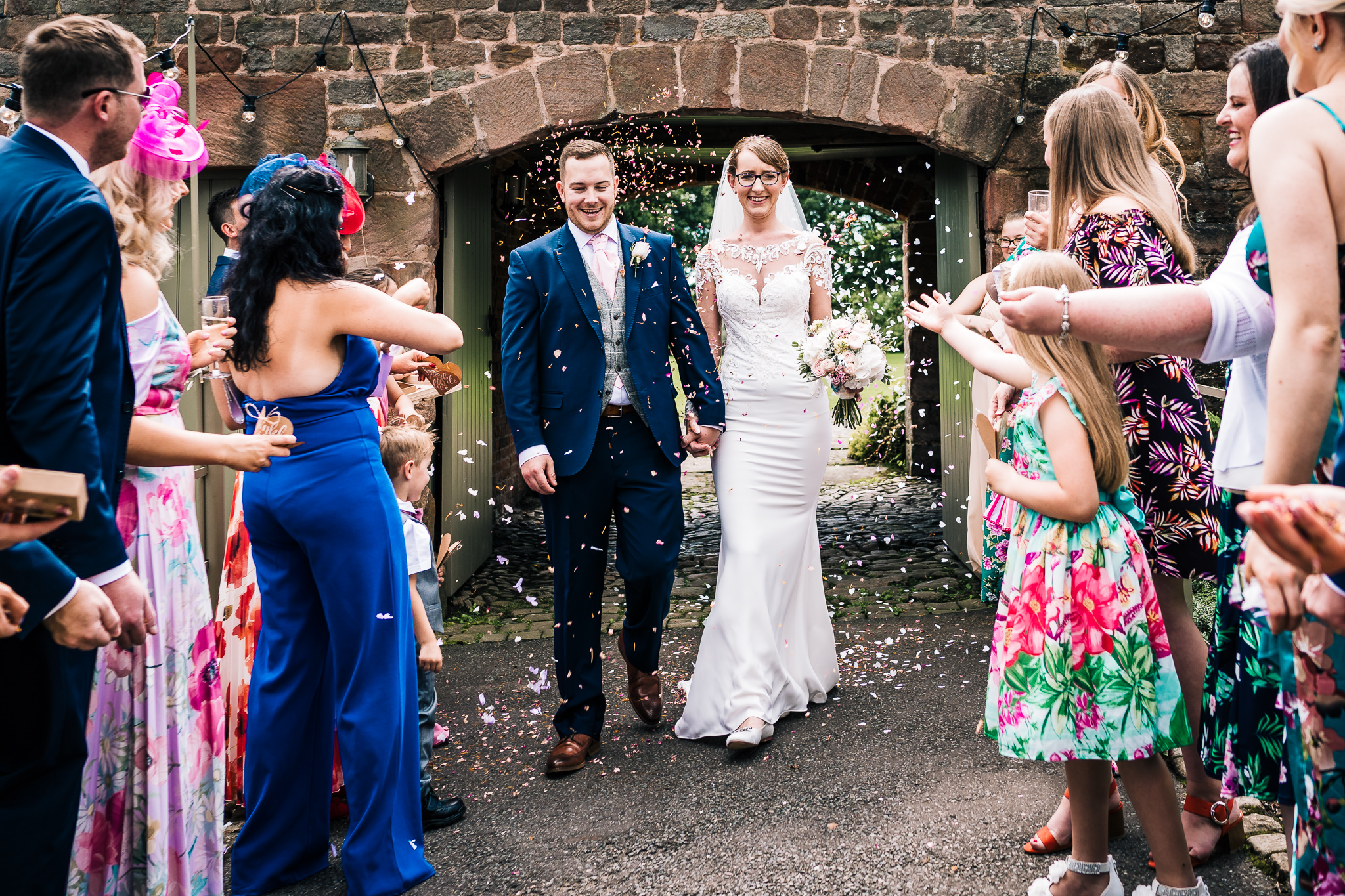 JUST MARRIED CONFETTI PICTURE AT THE ASHES BARN WEDDING VENUE