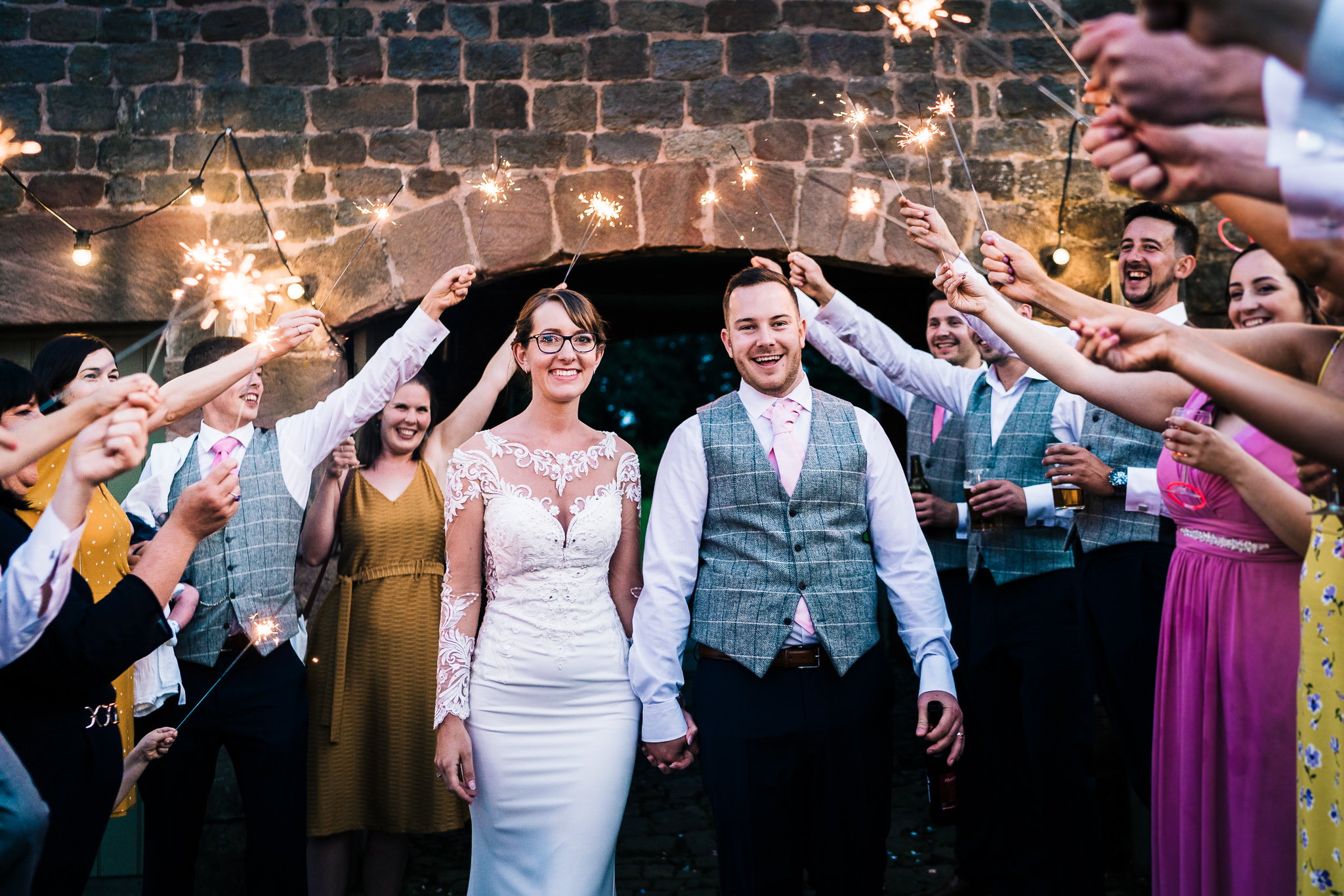 SPARKLER EXIT AT THE ASHES BARNS VENUE STAFFORDSHIRE