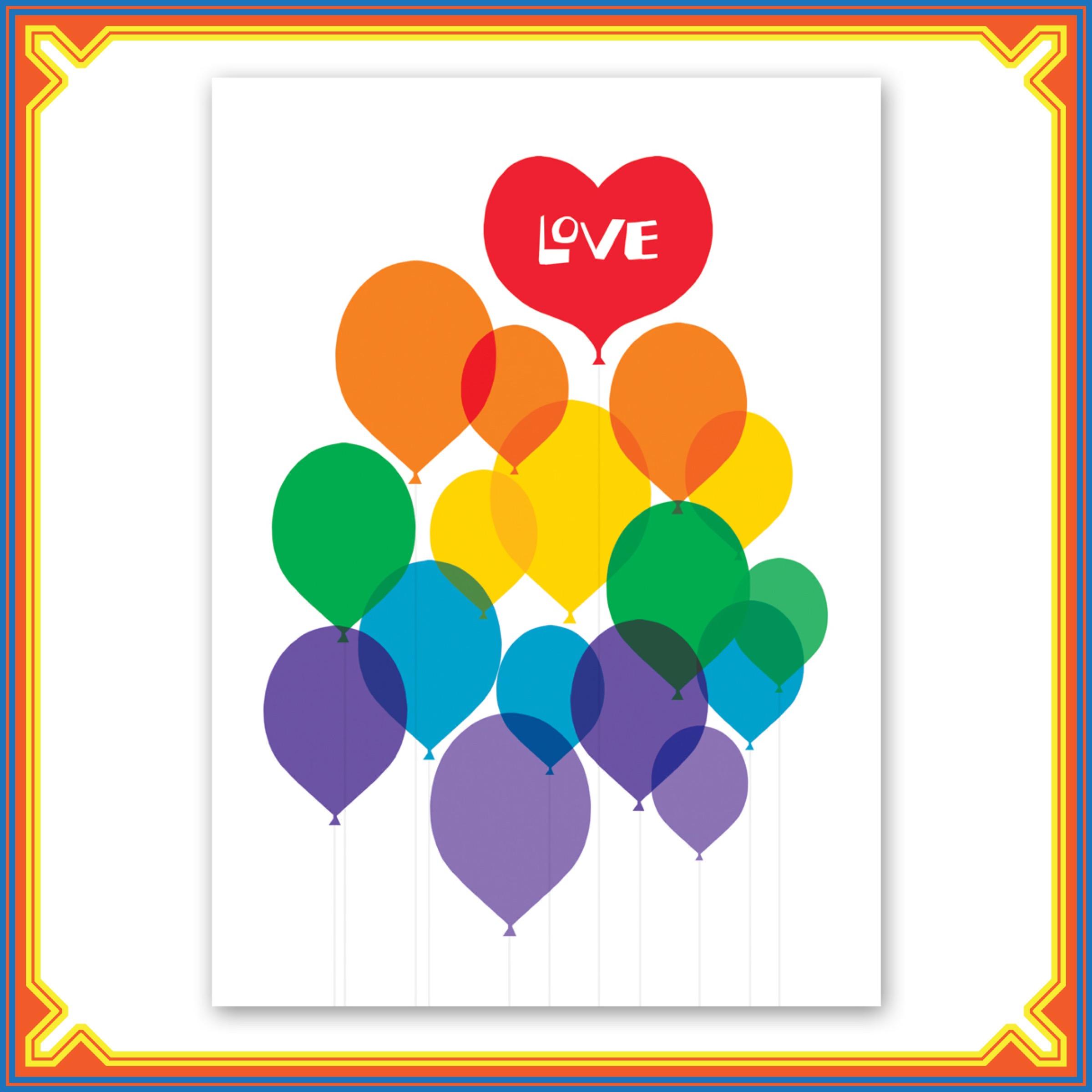 $3.99 RAINBOW BALLOONS LOVE CARD