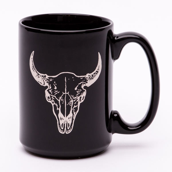 $15.99 PLATINUM FOIL BUFFALO SKULL COFFEE MUG