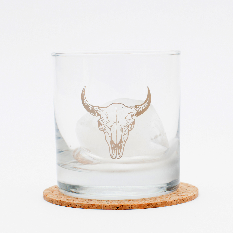 $13.99 PLATINUM FOIL BUFFALO SKULL ROCKS GLASS