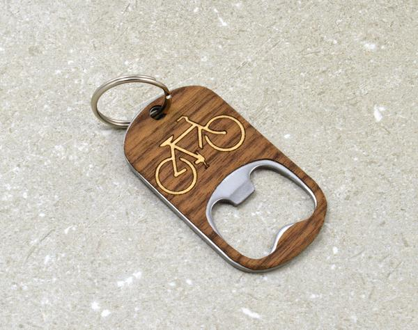 $24.99 BIKE WOOD BOTTLE OPENER KEYCHAIN