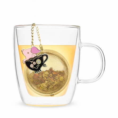 $14.99 TEACUP ENAMEL PIG CHARM TEA INFUSER