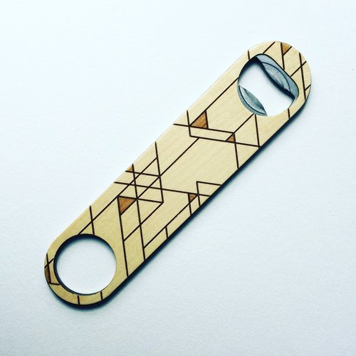 $27.99 PYRAMIDS WOOD & STEEL BOTTLE OPENER