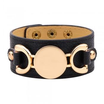 $15.99 BLACK LEATHER & GOLD ACCENT CUFF BRACELET