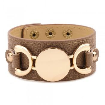 $15.99 TAN LEATHER & GOLD CUFF ACCENT BRACELET