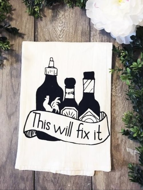 $11.99 THIS WILL FIX IT HOT SAUCE KITCHEN TOWEL
