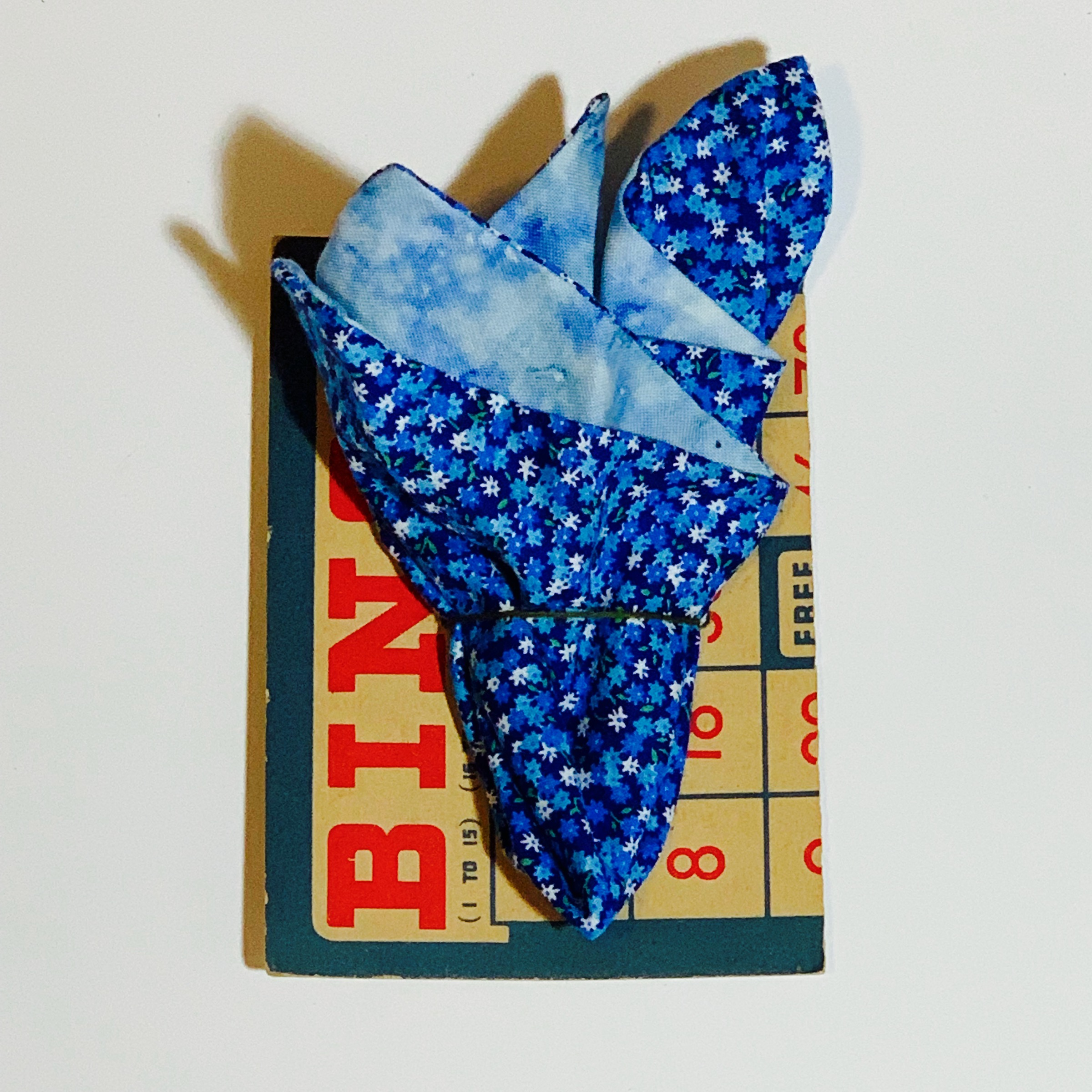 $23.99 FLORAL BLUE VINTAGE HANDMADE POCKET SQUARE