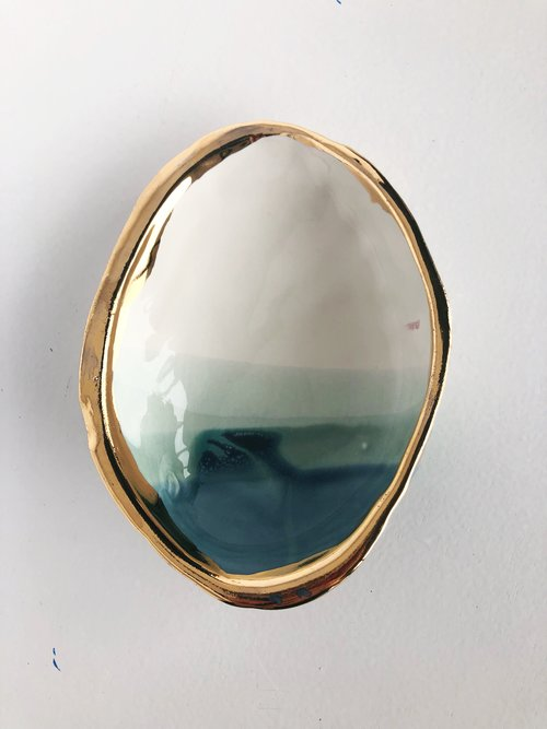 $35.99 OCEAN ABALONE SMUDGE DISH WITH 22K GOLD RIM