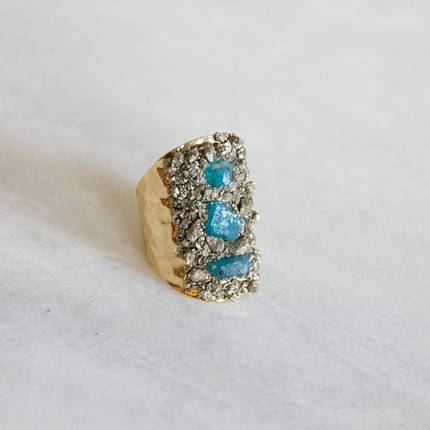 $27.99 PYRITE CHIP CUFF RING WITH APATITE