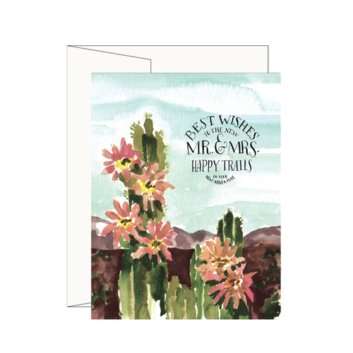 $4.99 HAPPY TRAILS CACTUS MR. AND MRS. WEDDING CARD